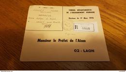 AISNE - ORIGNY Ste BENOITE. Recommandé. Etiquette  R0000  !!  1er Jour Connu Du Cachet A9 De La Ville - Marcofilia (sobres)