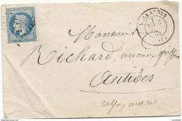 Alpes Maritimes - Vallauris Pour Antibes. GC + CàD Type 17. 1869 - Marcofilie (Brieven)
