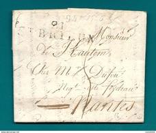 Cotes Du Nord - St Brieuc Pour L'Ile Feydeau à Nantes (Loire Inférieure). LAC - 1701-1800: Précurseurs XVIII