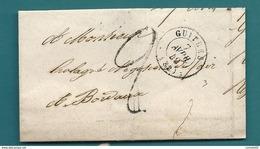 Gironde - Guitres Pour Hologray à BORDEAUX. 1849 - Marcofilia (sobres)