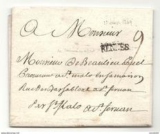 Ille Et Vilaine - Rennes Pour DE BEAULIEU PUEL, Procureur à St Malo, Pour St Servan. Ecrite Par LEMANOND DU VAUTRUAND - 1701-1800: Précurseurs XVIII