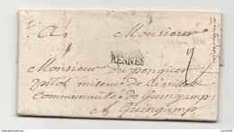 Ille Et Vilaine - Rennes Pour DE PENQER à Guingamp. 1736 - 1701-1800: Précurseurs XVIII