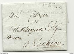 Ille Et Vilaine - St Malo (DE LA HAYE BIZIEN) Pour DE LA VILLEGUESSIO à Lannion (Cotes Du Nord). 1801 - Marcofilia (sobres)