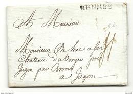 Ille Et Vilaine - Rennes Pour DE HAC Au Chateau Du Verger à JUGON Par BROONS. LAC - Postmark Collection (Covers)