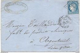 Paris // LA CHAPELLE St DENIS Pour Argenteuil (Seine Et Oise). 1872 - Marcofilia (sobres)