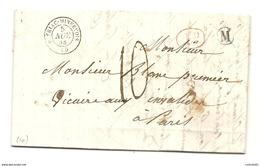 Aude - Peyriac Minervois Pour Paris. LAC De 1844 - Marcofilia (sobres)