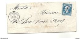 Savoie - Aiguebelle Pour Moutiers - GC 20 + CàD Type 15. 1866 - Marcofilia (sobres)