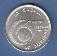 Kuba / Cuba 1979 Gipfelkonferenz Silbermünze 20 Pesos 26g Ag925 - Münzen