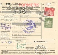 Paketkarte Zürich Vormerkverkehr Via Friedrichshafen Nach Bad Kreuznach Zollgut - Schaffhausen Solothurn - Schweiz