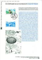 """"""" ADOLPHE PEGOUD : 100 ANS DU SAUT EN PARACHUTE """" Sur Document Officiel De 2013  N° YT PA 76. Parfait état ! DPO - Postdokumente"""