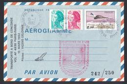 "1982 - AEROGRAMME Avec GRIFFE "" BAPTEME DE L'AIR SUPERSONIQUE EN CONCORDE AIR FRANCE "" VOL AF 4938 VICENS DELORME - Poststempel (Briefe)"