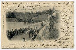 MAINSAT. Course De Cyclistes. Départ. Cliché De 1901, Beaucoup Plus Rare Que L'autre Départ De Course!!! - Autres Communes