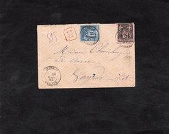 LSC 1887 - Recommandé Et Cachet  OLONZAC (Herault)  Sur Type Sage YT 90 & YT 97 / Au Dos 2 Cachets Convoyeurs - Marcophilie (Lettres)