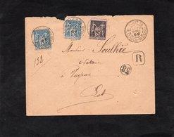 LSC 1899 Pour VAYRAC (Lot) - Recommandé & Cachet PARIS 38 Rue Claude Bernard Sur YT 90 & YT 97 / 38 Dans Cercle - Marcophilie (Lettres)