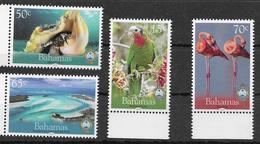 BAHAMAS, 2019, MNH, NATIONAL TRUST, BIRDS, PARROTS, FLAMINGOS, SHELLS, 4v - Flamingo's