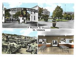 CPSM MULTIVUES COLORISEE VERDUN, 2e REGIMENT DE CHASSEURS, QUARTIER MAGINOT, MEUSE 55 - Verdun