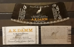 CERVEZA A.K.DAMN 330 CL. JUEGO DE 3 ETIQUETAS. USADO - USED. - Cerveza