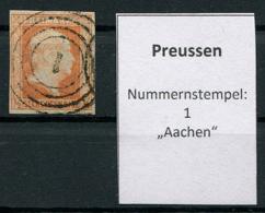 "Preussen: 1/2 Sgr. MiNr. 1 Nummernstempel 1 ""Aachen""  Gestempelt / Used / Oblitéré - Preussen (Prussia)"