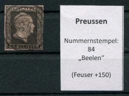 """Preussen: 1 Sgr. MiNr. 2 Nummernstempel 84 """"Beelen""""  Gestempelt / Used / Oblitéré - Prusse"""