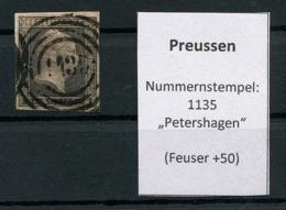 "Preussen: 1 Sgr. MiNr. 2 Nummernstempel 1135 ""Petershagen""  Gestempelt / Used / Oblitéré - Preussen (Prussia)"