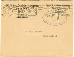 RBV D'AUBENAS SUR LETTRE - Mechanical Postmarks (Advertisement)