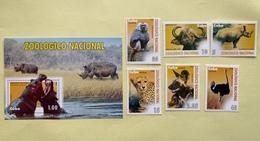 Cuba 2009 Set Of 6 + M/S Wild Animals In Havana Zoo Fauna Mammals Bird Struthio Camelus Ostrich Nature Stamps MNH - Straussen- Und Laufvögel