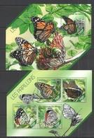 ST2662 2014 NIGER FAUNA INSECTS BUTTERFLIES LES PAPILLONS 1KB+1BL MNH - Butterflies
