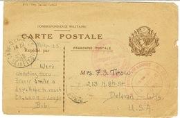CARTE POSTALE MILITAIRE POUR LES USA GARE D'ETAMPES SECOURS AUX BLESSESMARS 1918 - Marcophilie (Lettres)