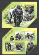 ST2672 2014 NIGER FAUNA ANIMALS MONKEYS LES GORILLES 1KB+1BL MNH - Gorillas