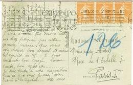KRAG PARIS GARE DE L'EST JEUX OLYMPIQUES 1924 SUR CPA - Marcophilie (Lettres)