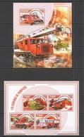 ST2765 2014 NIGER TRANSPORT CARS FIRETRUCK CAMIONS DE POMPIERS KB+BL MNH - Vrachtwagens