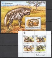 ST1971 2015 NIGER FAUNA WWF WILD ANIMALS HYENAS LA HYENE RAYEE 1BL+1KB MNH - W.W.F.