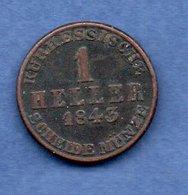 Hessen - Cassel   -  1 Heller 1843   -  Km # 613  -  état  TTB - [ 1] …-1871: Altdeutschland