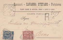 Sassari. 1903. Annullo Tondo Riquadrato SASSARI (RACCOM.), Su Cartolina Pubblicitaria Raccomandata. BELLA. - 1900-44 Vittorio Emanuele III