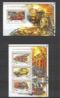 ST2060 2015 NIGER TRANSPORT CARS FIRETRUCK CAMIONS DE POMPIERS KB+BL MNH - Vrachtwagens