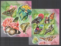 ST2111 2015 NIGER FAUNA INSECTS BUTTERFLIES LES PAPILLONS 1KB+1BL MNH - Butterflies