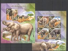 ST2116 2015 NIGER FAUNA WILD ANIMALS ELEPHANTS LES ELEFANTS KB+BL MNH - Elephants