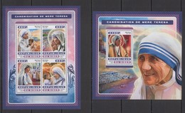 ST1861 2016 NIGER GREAT HUMANISTS CANONIZATION  MOTHER TERESA KB+BL MNH - Mutter Teresa