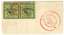 1843 DOPPELGENF Verkehrt Geschnitten - 1843-1852 Poste Federali E Cantonali