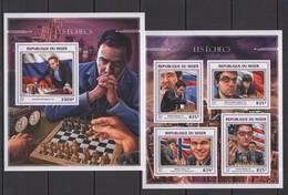 ST1889 2016 NIGER SPORT ART CHESS HISTORY LES ECHECS KB+BL MNH - Chess