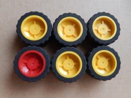 6 Roues Lego Technic 30285 Jaune Et Rouge - Lego Technic
