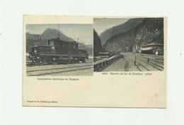SUISSE- ISELLE - Double Vue Locomotive Electrique Et  Chemin De Fer Du Simplon La Gare A Iselle  Bon état - VS Valais