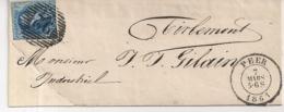 BRIEF P92 PEER-N°11A-7 MARS 1861-BESTEMMING TIRLEMONT-CENTRALE AFSTEMPELING - 1858-1862 Médaillons (9/12)
