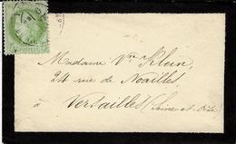 1880- Enveloppe Carte De Visite De Deuil De Paris / Bd. Richard-Lenoir Pour Versailles Affr. N°53 Seul - 1877-1920: Semi-moderne Periode