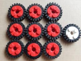 10 Roues LEGO Technic Rouge Et Blanche 6248 - Lego Technic
