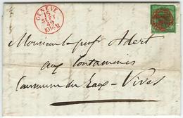 1848 DUNKELGRÜNER ADLER Auf Brief - 1843-1852 Federal & Cantonal Stamps