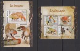 ST1966 2016 NIGER FAUNA PREHISTORIC ANIMALS DINOSAURS LES DINOSAURES KB+BL MNH - Préhistoriques