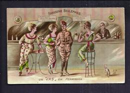 """CPA Soldat Illustrateur - Un """" JAS """" En Permission - Brasserie Beulemans - Filles Prostituées Au Comptoir Bar Chat - Humour"""