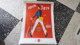 """Affiche 43 Cm X 61 Cm Reproduction  Du Film """"jour De Fête """" De Jacques Tati Avec Le Timbre - FDC"""