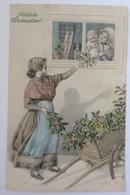 Weihnachten, Frauen, Mode, Kinder, Misteln,1909, Munk Vienne. N.Schubert♥(37217) - Noël